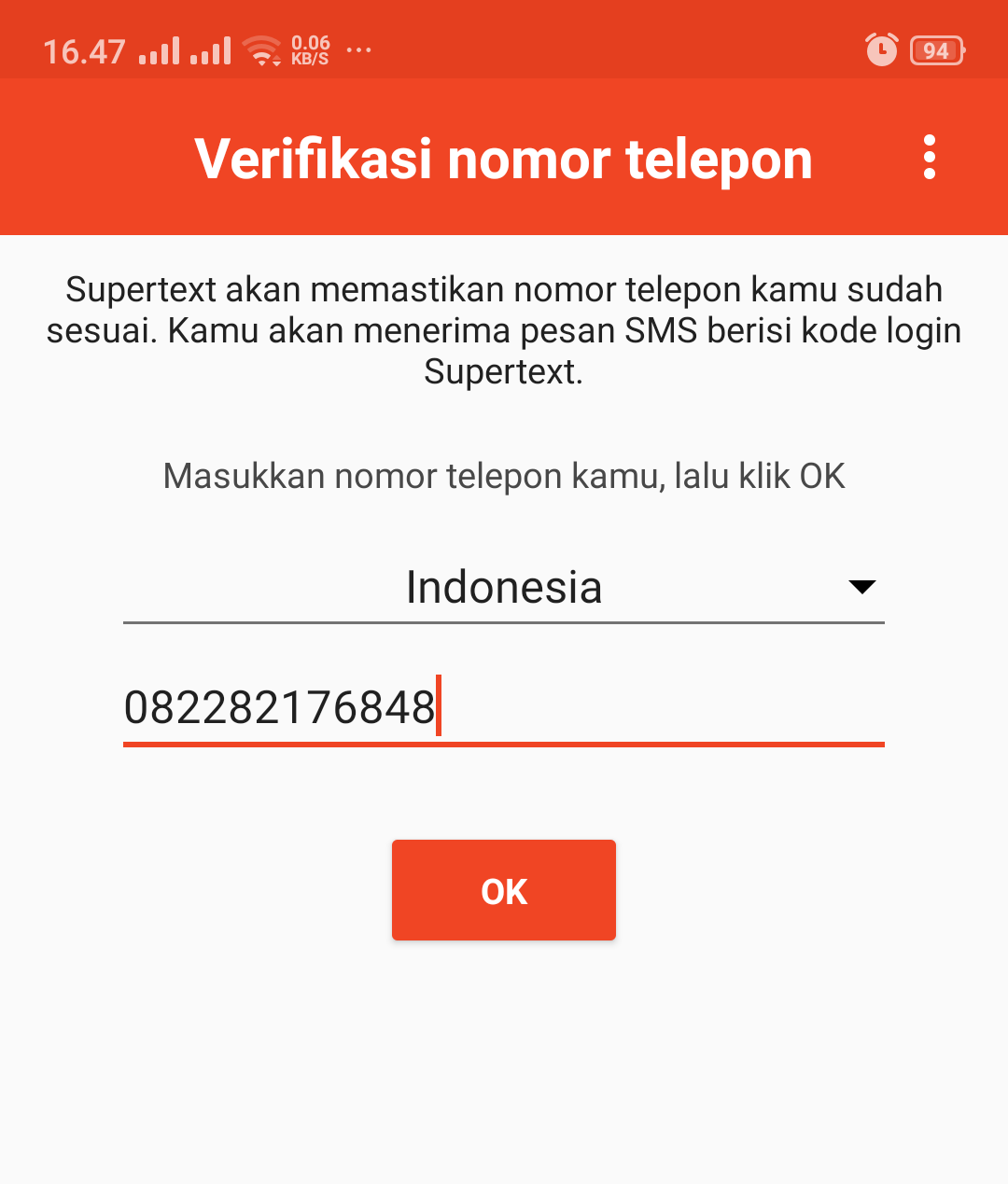 verifikasi nomor telepon